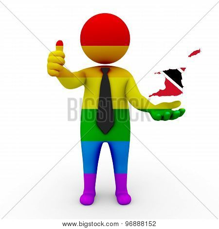 3d businessman people LGBT - with a map of the flag of Trinidad and Tobago