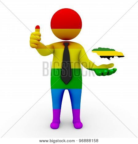 3d businessman people LGBT - with a map of the flag of Jamaica