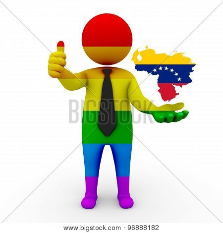 3d businessman people LGBT - with a map of the flag of Venezuela