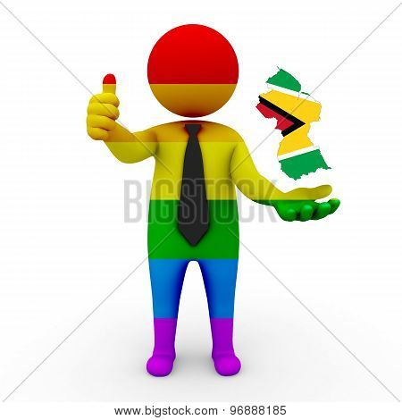 3d businessman people LGBT - with a map of the flag of Guyana