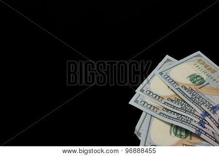 Five Hundred Usa Dollar Bills Isolated In Right Corner
