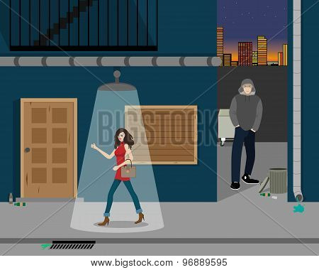 The girl returned home from a party through a dark alley. Vector illustration