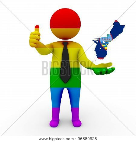 3d businessman people LGBT - with a map of the flag of Guam