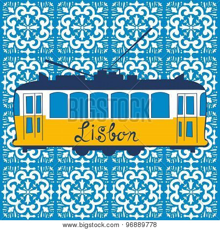 Colorful illustration of traditional Lisbon tram