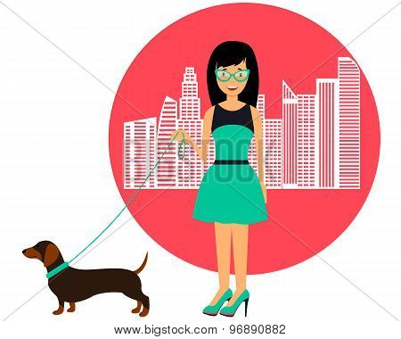Fashion girl walking with a dog in the city. Vector illustration