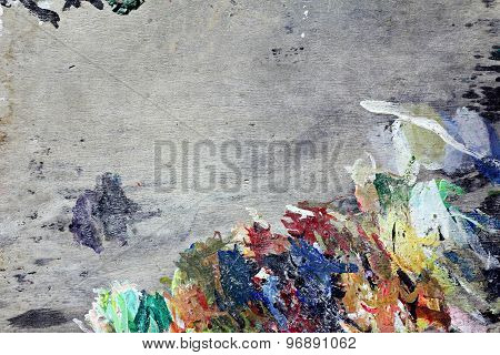 Art Multicolor Texture On Gray Wood Palette