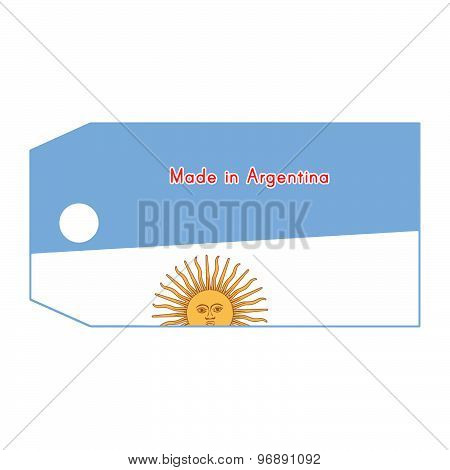 Argentina Flag On Price Tag With Word Made In Argentina Isolated On White Background.