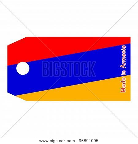 Armenia Flag On Price Tag With Word Made In Armenia Isolated On White Background.
