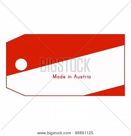 Austria Flag On Price Tag With Word Made In Austria Isolated On White Background.