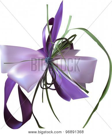 illustration with lilac bow isolated on white background