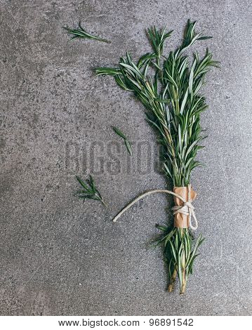 Bunch Of Rosemary On Stone Background