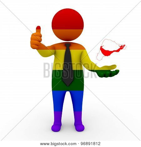 3d businessman people LGBT - with a map of the flag of Easter Island