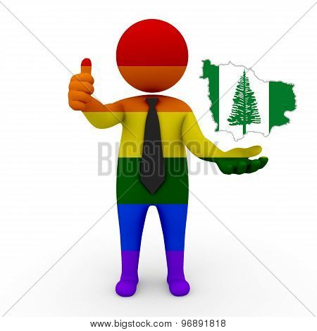 3d businessman people LGBT - with a map of the flag of Norfolk (Island)