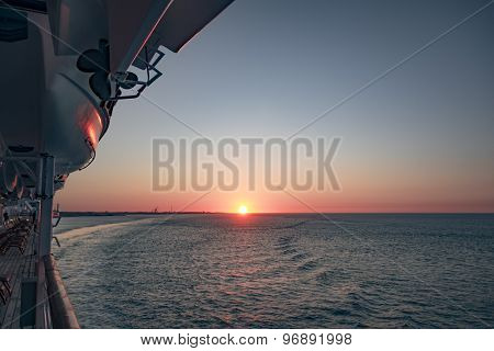 An image of a sunset at the Elbe Germany