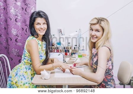 Beautiful Woman With Beauty Salon, The Client And The Employee Makes Manikpur