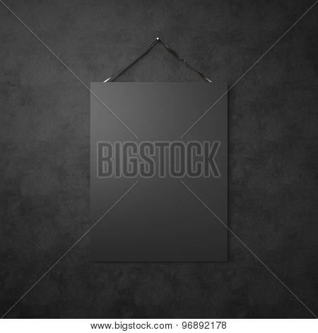 Black kraft paper hanging on leather belt. 3d render