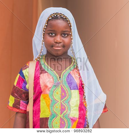 Young African Girl Posing At Expo 2015 In Milan, Italy