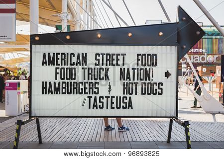 Street Food Sign Outside Usa Pavilion At Expo 2015 In Milan, Italy