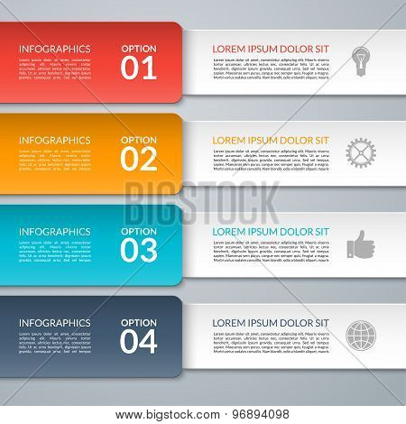 Vector infographic design template. Paper strips