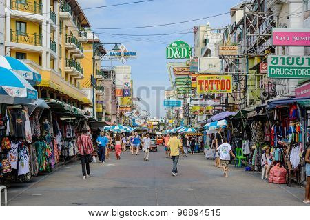 Bangkok, Thailand - July 25, 2015: Tourists Walk Along Backpacker Haven Khao San Road And Tuktuk Aro