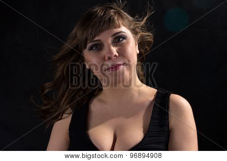 Image of pudgy woman with flowing hair
