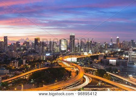 Bangkok elevated road junction and interchange overpass during twilight