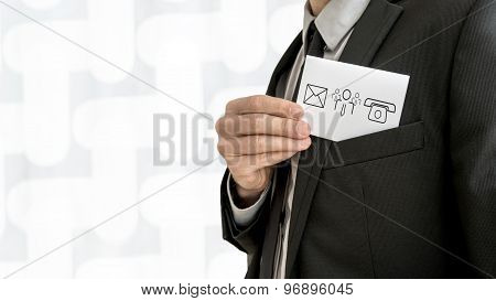 Personal Business Consultant  Removing A Business Card With Communication Icons From The Inner Pocke