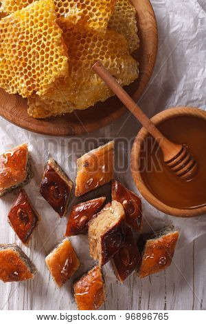 Baklava And Honey Close-up On A Table Vertical View From Above