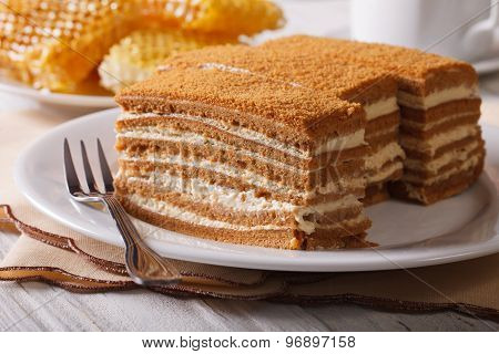 Honey Cake Close-up On A Plate On Background Honeycomb. Horizontal