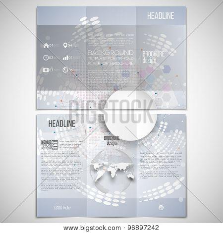 Vector set of tri-fold brochure design template on both sides with world globe element. Molecule str