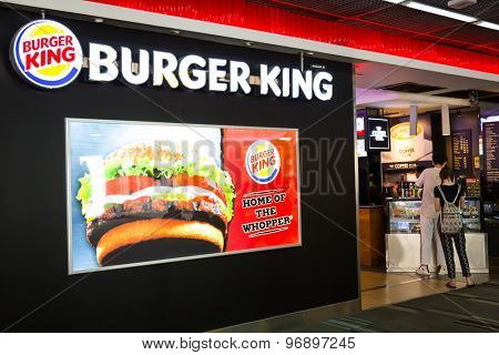 BANGKOK - July 19 2015: Burger King Restaurant in Don Mueang  international airport. It is the second largest fast food hamburger chain in the world.