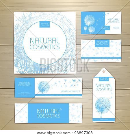 Flower Dandelion Cosmetics Concept Design. Corporate Identity. Document Template