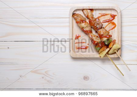 BBQ On Wooden Plate