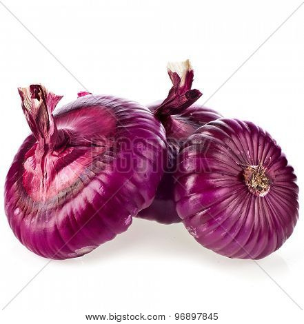 fresh red onions isolated on white background