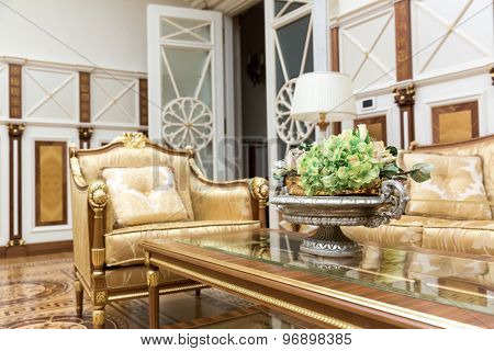 Novi Petrivtsi, Ukraine - May 27, 2015 Mezhigirya residence of ex-president of Ukraine Yanukovich. Close up of living room with modern interior