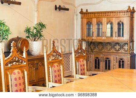 Novi Petrivtsi, Ukraine - May 27, 2015 Mezhigirya residence of ex-president of Ukraine Yanukovich. Modern interior of luxurious room of