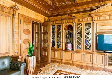 Novi Petrivtsi, Ukraine - May 27, 2015 Mezhigirya residence of ex-president of Ukraine Yanukovich. Luxurious cabinet of