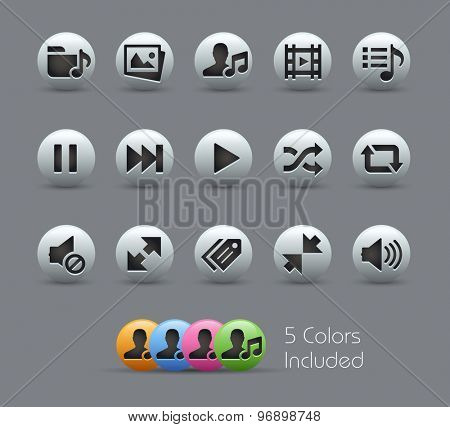 Media Player Icons // Pearly Series ----- The Vector file includes 5 color versions for each icon in different layers -----