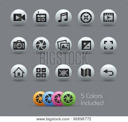 Media Interface Icons // Pearly Series ----- The Vector file includes 5 color versions for each icon in different layers -----