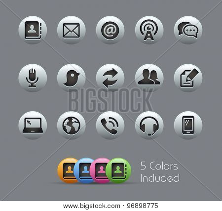 Communications Icons // Pearly Series ----- The Vector file includes 5 color versions for each icon in different layers -----