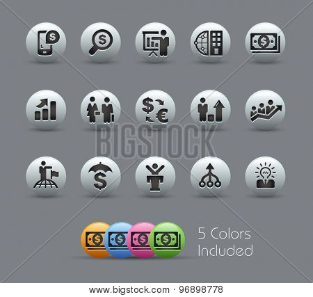 Finance and Business Strategies // Pearly Series ----- The Vector file includes 5 color versions for each icon in different layers -----