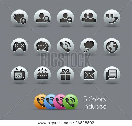 Social Communications Icons // Pearly Series ----- The Vector file includes 5 color versions for each icon in different layers -----