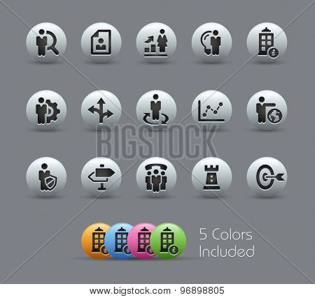 Company and Business Strategies // Pearly Series ----- The Vector file includes 5 color versions for each icon in different layers -----