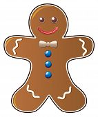 picture of gingerbread man  - vector illustration of gingerbread cookie on white background - JPG