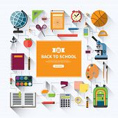 ������, ������: Back to school flat vector background