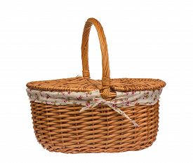 stock photo of nic  - Picnic basket isolated on the white background - JPG
