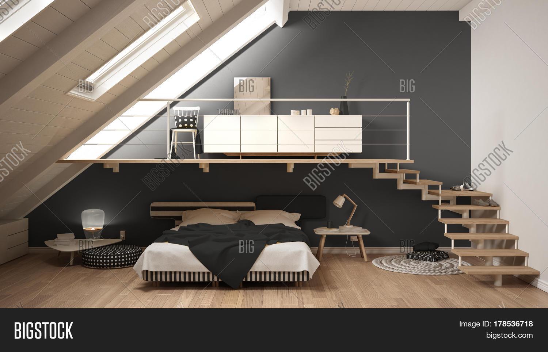 loft mezzanine scandinavian minimalist bedroom, gray classic