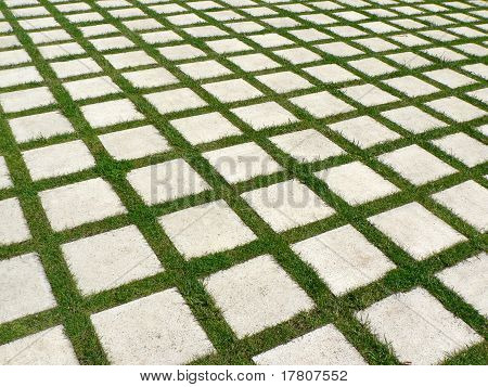 Grid of grass and stones