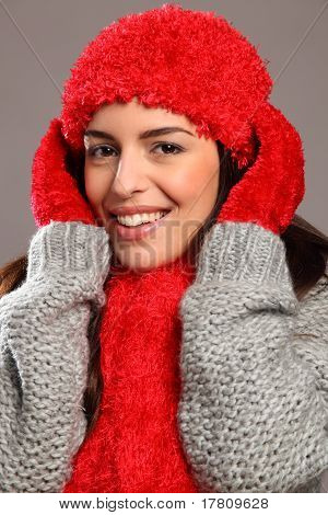 Woman in warm festive woolly knits