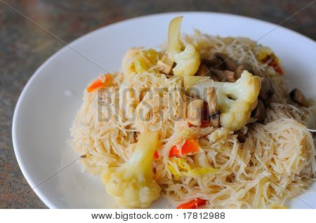 Noodle Meal On White Plate